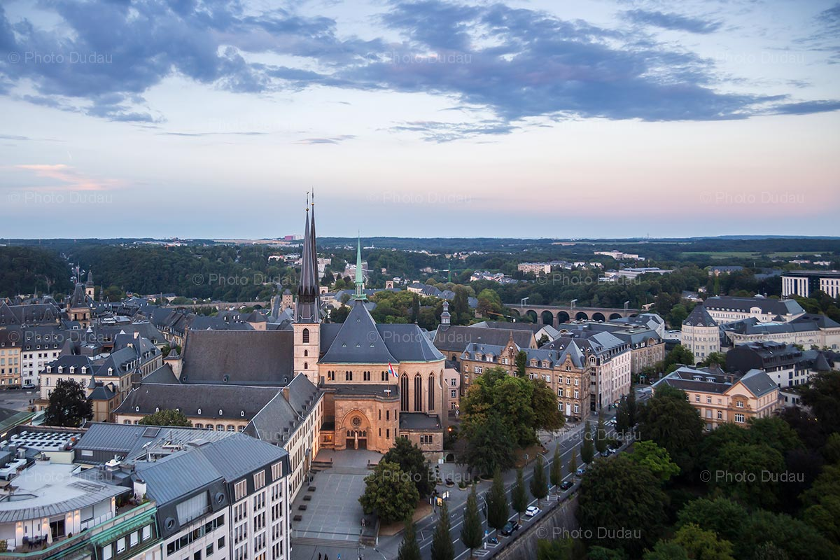 Luxembourg Notre Dame at sunset from above