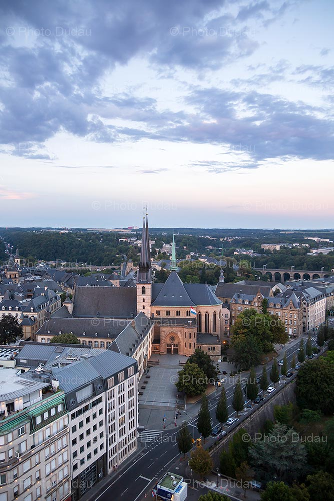 Notre Dame in Luxembourg at sunset