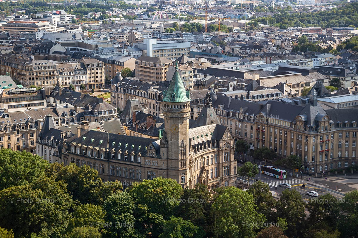 Spuerkeess Tower in Luxembourg city aerial view