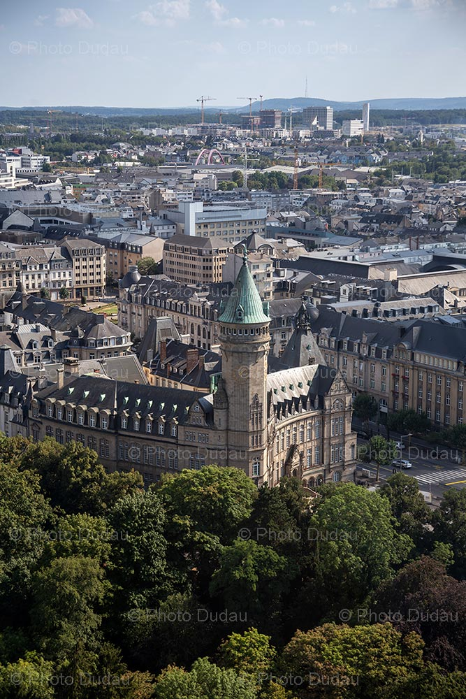 Spuerkeess Tower in Luxembourg aerial view