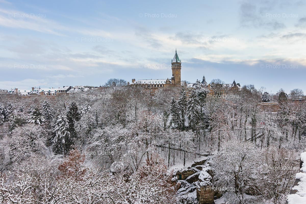 Snow over Spuerkeess and Petrusse in Luxembourg
