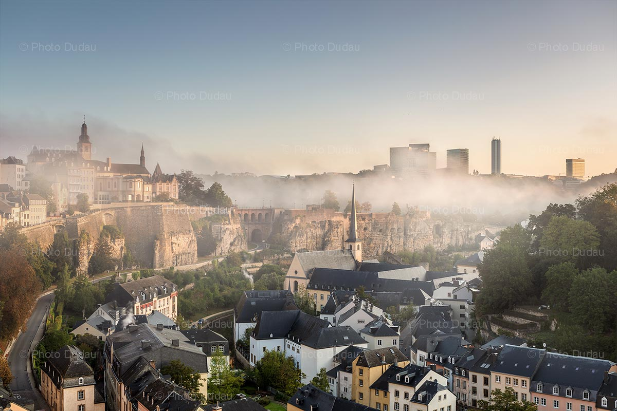 Luxembourg city covered in fog