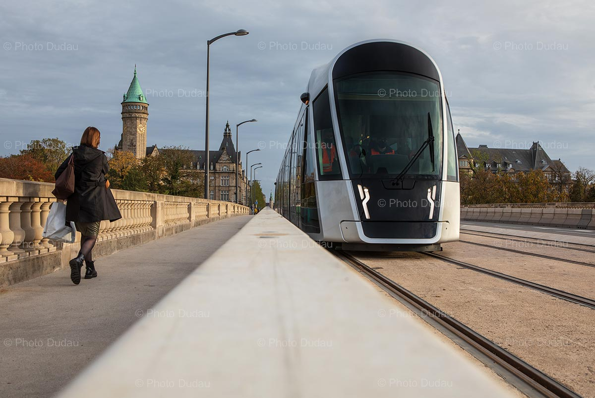 Tram on Pont Adolphe in Luxembourg
