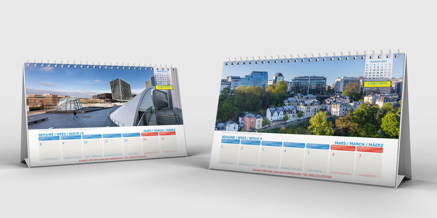 Luxembourg Business Calendar Desk 2021