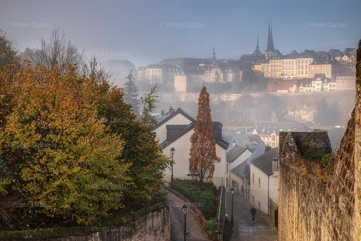 Foggy old town in Luxembourg city