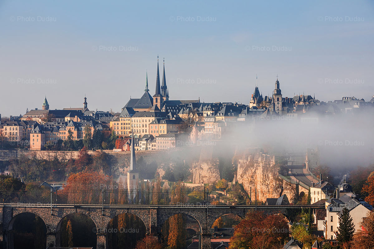 Luxembourg autumn skyline over old town