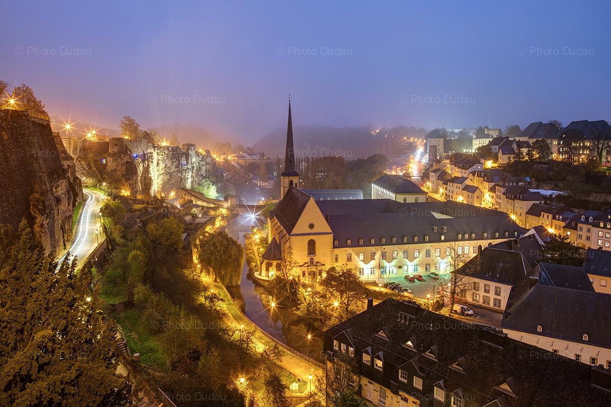 Luxembourg Grund cityscape at night