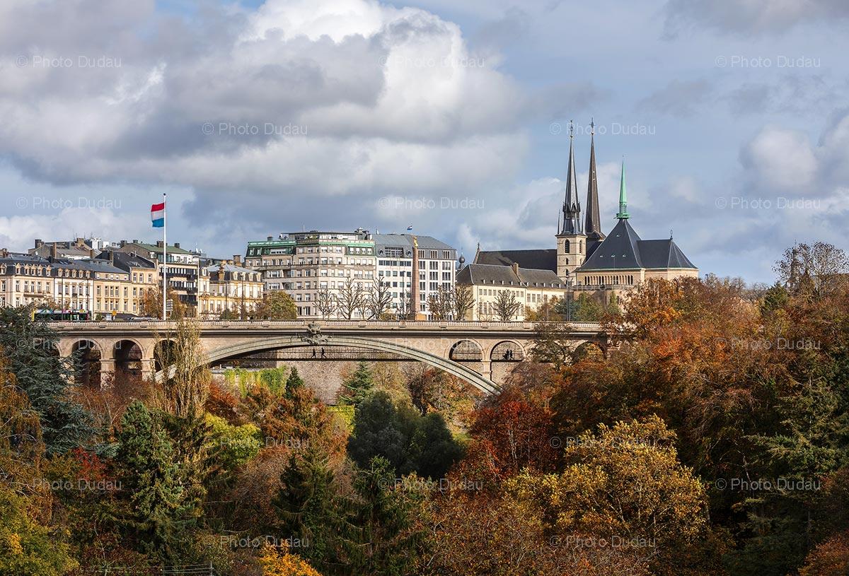 Luxembourg city landmarks in autumn