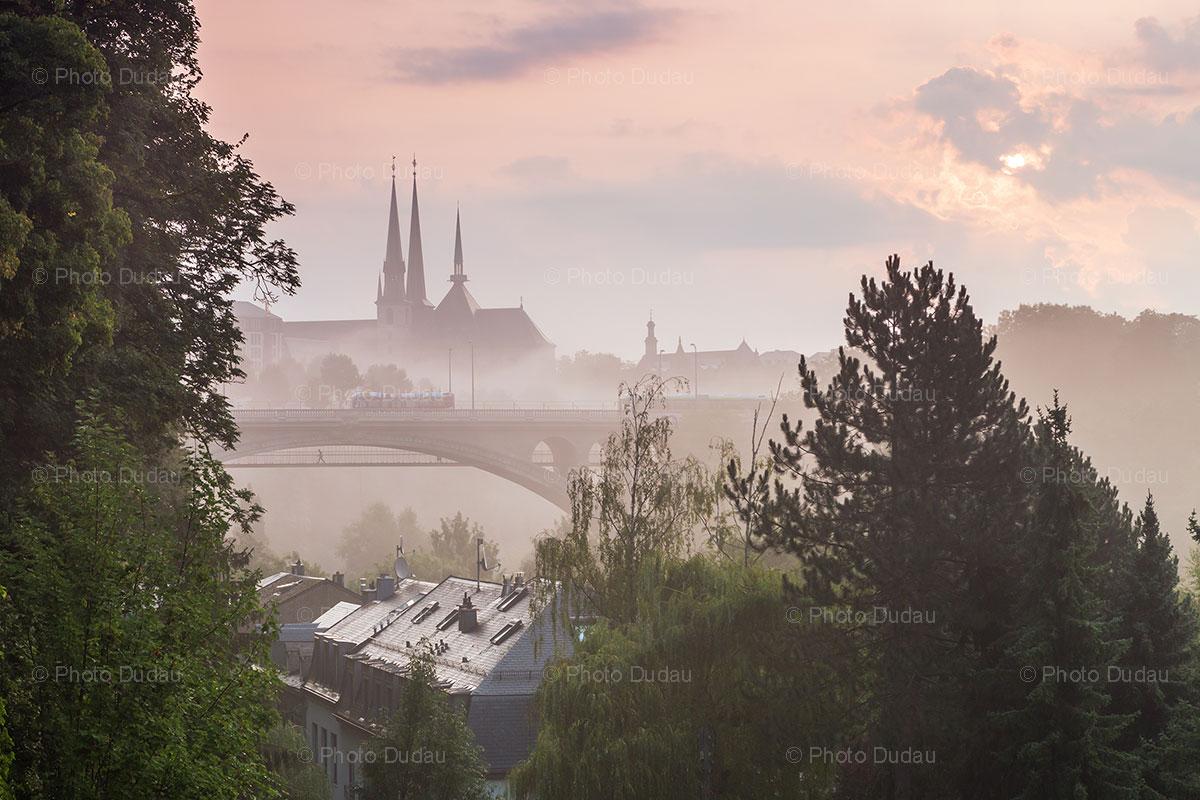 Foggy Luxembourg City landmarks