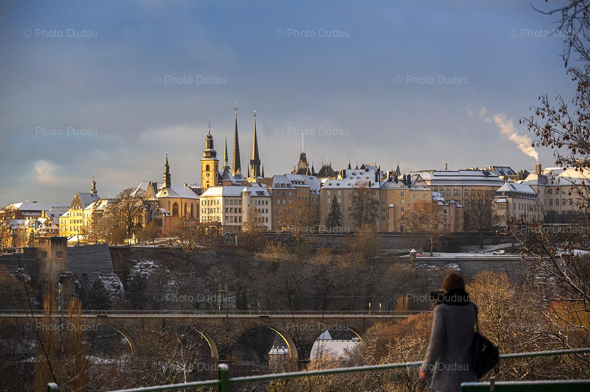 Luxembourg cityscape under snow in winter