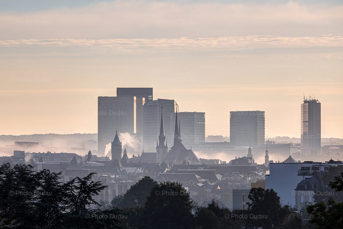 Luxembourg foggy skyline with Kirchberg and landmarks